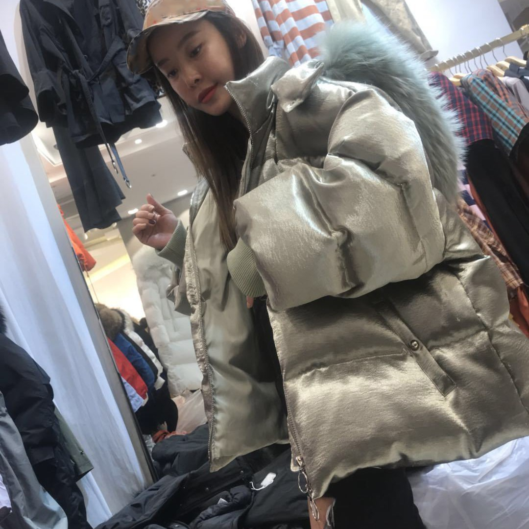 Ruban D'hiver blanc Véritable Coréens Lâche Courte Parka Veste Naturel Femmes Col Doudoune Manteau Vêtements De Canard Green Army Fourrure Blanc Hn7SCffxqw