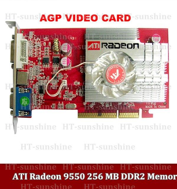 Livraison gratuite 2 pcs/lot nouveau ATI Radeon 9550 256 MB DDR2 mémoire AGP 3D Dvi s-vidéo, VGA carte vidéo