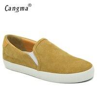 CANGMA Marca Mulher Loafer Shoes Flats Couro Genuíno Calçados Mulheres Tênis Feminino Amarelo Deslizamento Em Meninas Camurça Vaca Sapatos Casuais