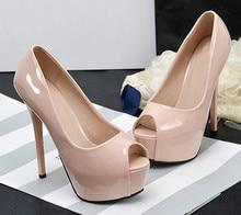 Wanita Musim Panas Pompa Sepatu Kulit PU Peron Peep Toe Slip-On 14 Cm Tipis Heels Dangkal Solid Klub Seksi pesta Wanita Sepatu