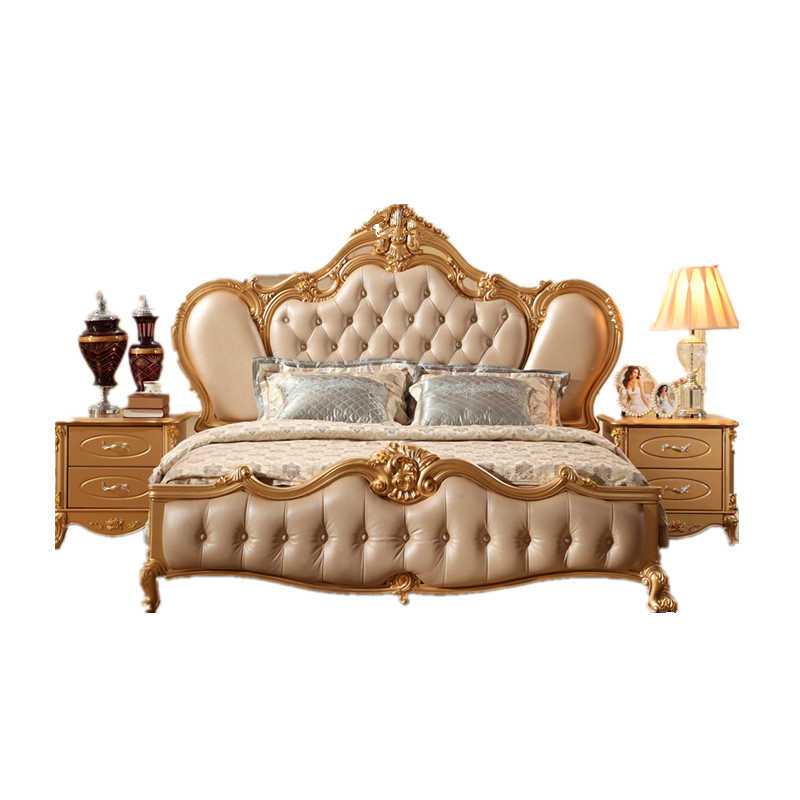 Luxury home use golden antique classic bedroom set