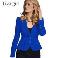 Sonbahar/Kış 2017 Kadın Zarif Uzun Kollu Turn Down Yaka Düğmesi Feminina çalışmak Giyim Blazer Siyah Beyaz Mavi