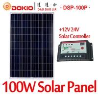 DOKIO Brand 100W 18 Volt Solar Panel China + 10A 12/24 Volt Controller 100 Watt Solar Panels Cell/Module/System Charger/Battery