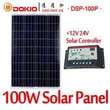 DOKIO Marque 100 W 18 Volts Panneau Solaire Chine + 10A 12/24 Volt Contrôleur 100 Watt Solaire Panneaux Cellulaire/Module/Système Chargeur/Batterie