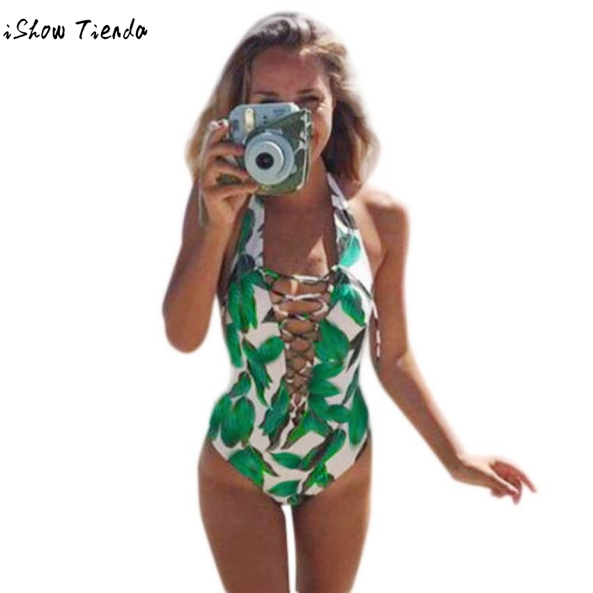One Piece Swimwear Green Printed Swiming Suit Women Sexy Hanging Neck Chest Dandage Backless Playsuits Summer Swimwear #UT