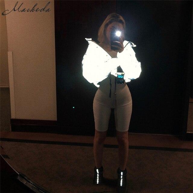 Macheda Women Fashion Winter Jackets Short Warm Coat Gray Color Reflective Short Jacket New Ladies Parka Winter Coats Outwear 1