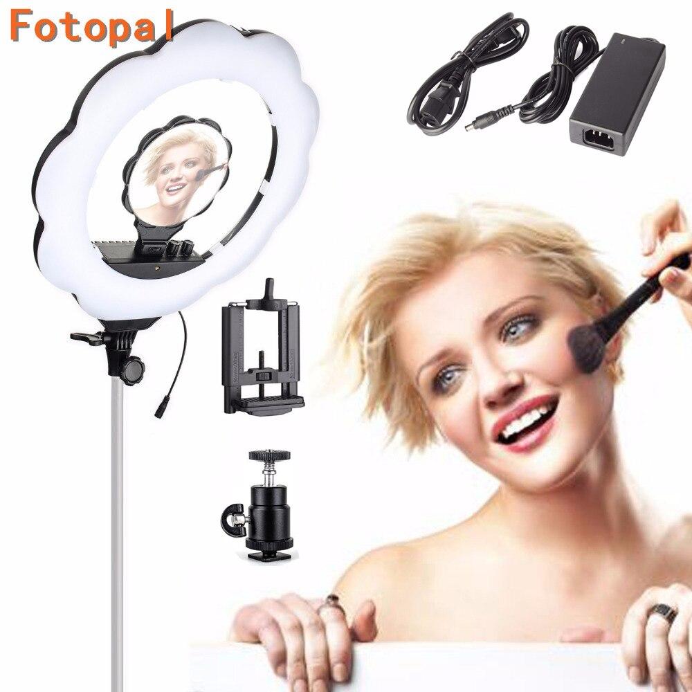Noir Couleur Fotopal ES384 Température 384 Led Anneau Vidéo Lumière Annulaire Lampe Photographie Studio Light avec Maquillage Miroir Caméra