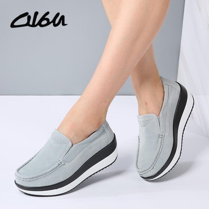 O16U Spring Women Flats Platform Loafers Shoes Female   Suede     Leather   Casual Shoes Slip on Flats elegant Moccasins Creerper Brand