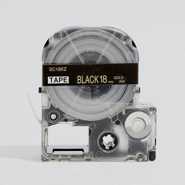 """במפעל סין 5 יחידות זהב על שחור 18 מ""""מ סרט העברת תרמית עבור KingJim SR180 LK-5BKP SC18KZ SR150 מכונת כתיבה ידנית"""