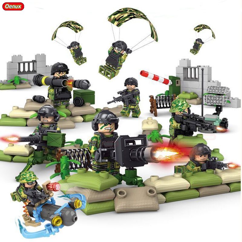 Oenux Newest Military Navy Seals Army Soldier With Parachute Building Block Military Camouflage Mini Doll Brick Toy For Boy Gift free shipping super affordable military base 310pcs set plastics toy soldier sand table model army soldier boy christmas gifts