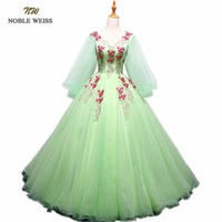 NOBLE WEISS Ball Gown Quinceanera Dresses Appliques Beading Floor Length Green Organza Sexy Formal Prom Dress With Long Sleeves