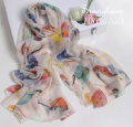 Luxury Brand Womens Checked Scarf 100% Silk Soft Scarves Animal Birds printed Winter Warm Summer Head Scarf arab Islamic Hijab