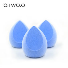 O.TWO.O Blue Face Makeup Sponge Puff Facial Cosmetic Concealer Cream Foundation Powder Blender Puff Set Egg Stand Holder Box(China)