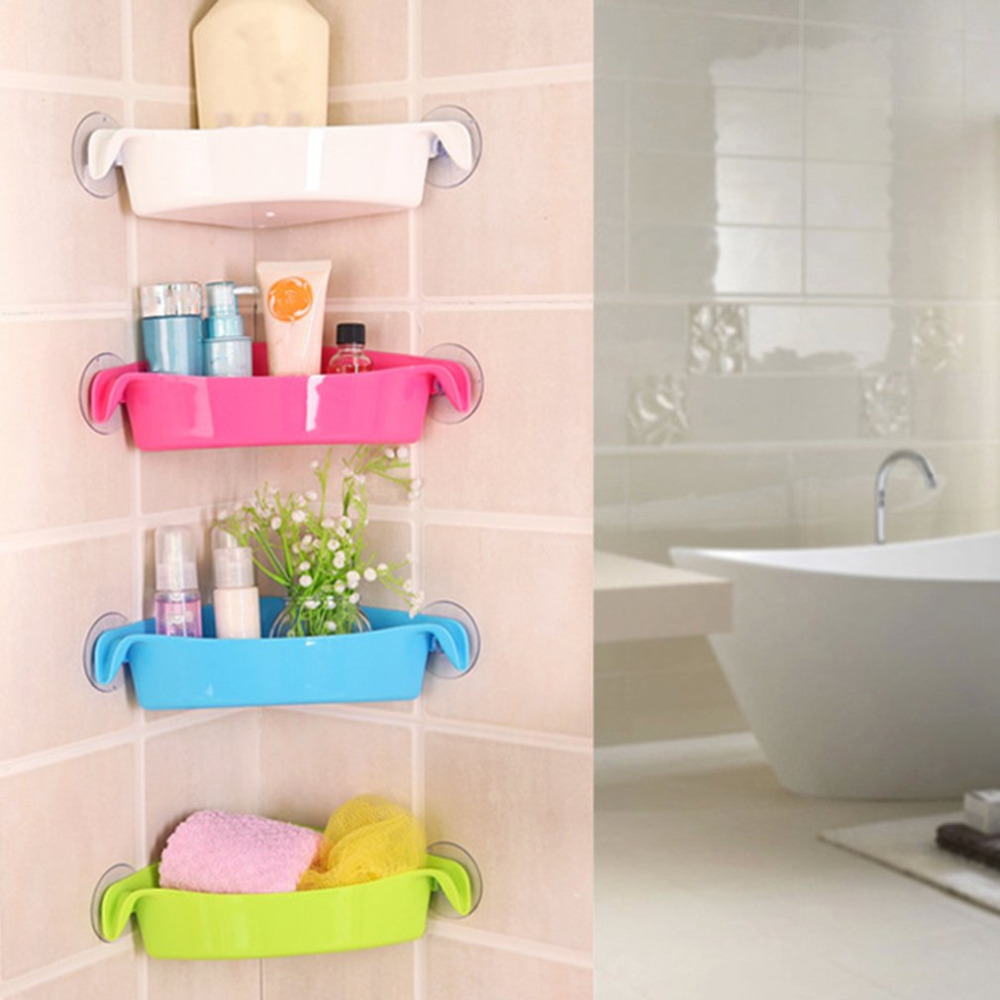 Creative Wall Mounted Sink Corner Kitchen Storage Holder Double Sucker Bathroom Holder Shelves For Bathroom Wall Shelf Shelving