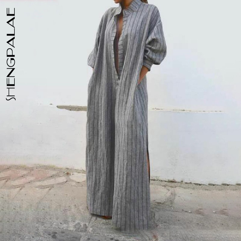 SHENGPALAE Bohemian Fashion Style Deep Stand Collar Long Sleeve Grey New 2019 Arrival Striped PLUS Size