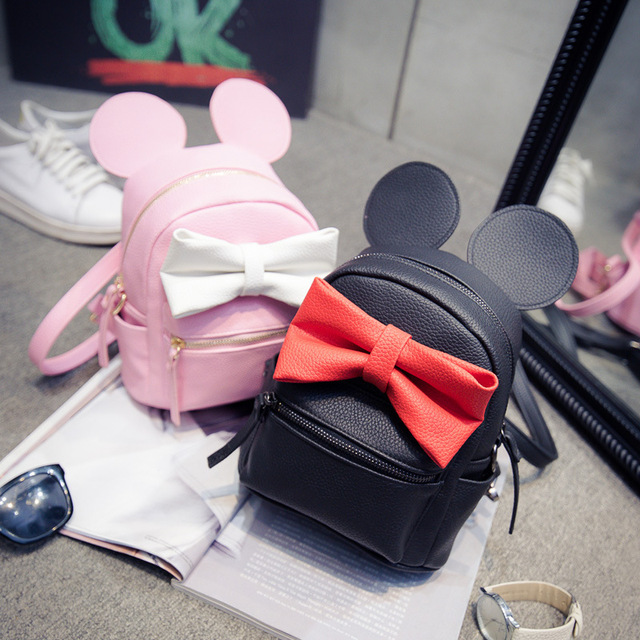 581010f0d03c Mickey backpack 2016 new Female bag Quality pu leather Women Backpack Mickey  ears Sweet girl bow