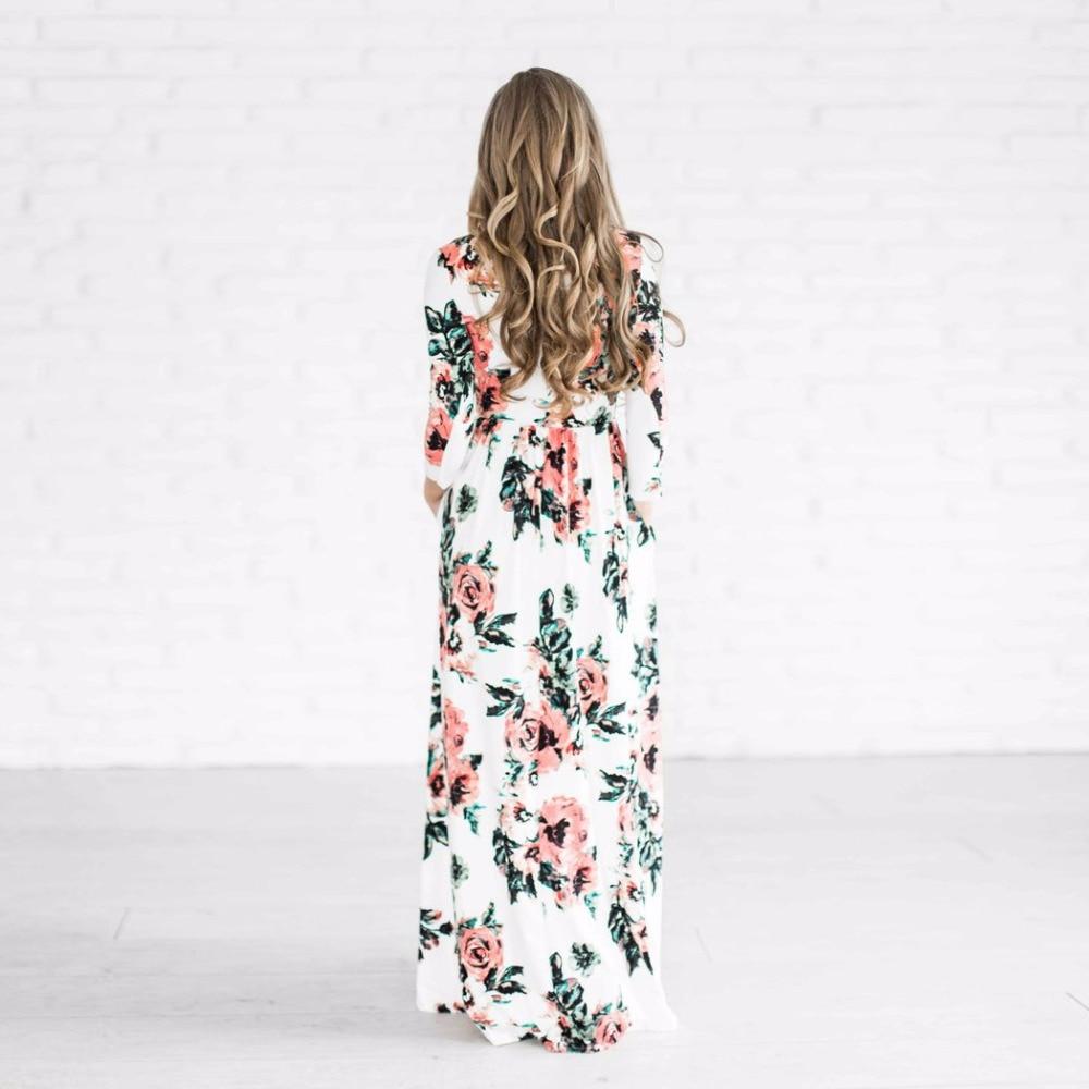 110d00baf50 2019 Vestido largo de verano estampado Floral de Boho playa vestido ...