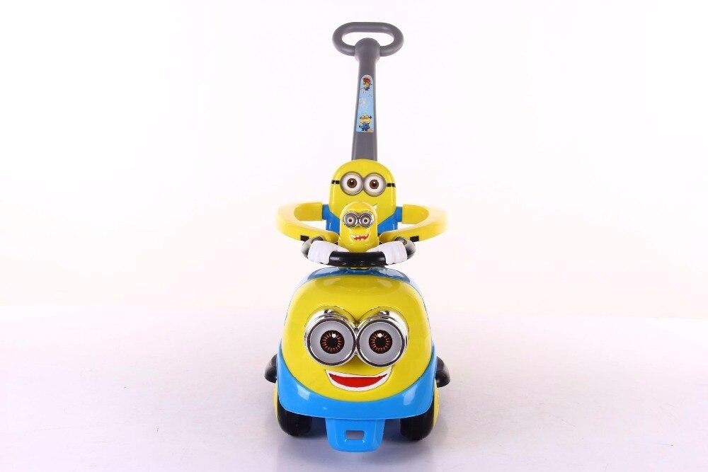Новая машинка с рулем с миньонами для детей с музыкальной лентой push скутер на четырех колесах игрушка shilly car - 3