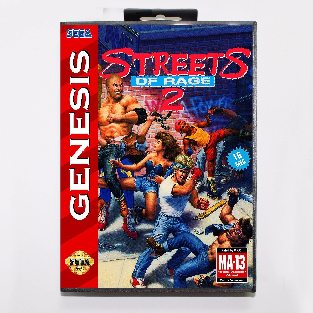 Street Of Rage 2 16 bit MD Game Card With Retail Box For Sega Mega Drive цена