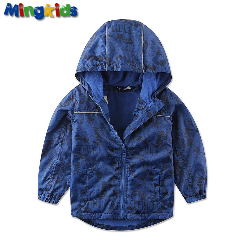 Mingkids High quality windbreaker jacket for boys waterproof with fleece lining outdoor raincoat for baby boy Autumn Spring in Jackets Coats from Mother Kids