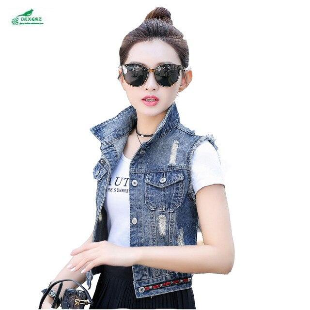 81fb56b3e93 Autumn clothing new Korean thin hole hit nail cowboy Outerwear female short  section large size vest