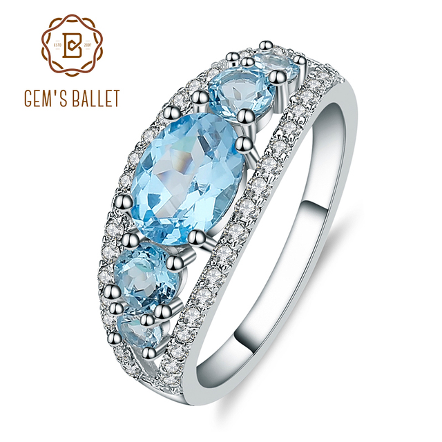 جوهرة الباليه 2.55Ct الطبيعية السويسري الأزرق توباز خاتم الزواج الفرقة 925 فضة الأحجار الكريمة غرامة مجوهرات للنساء