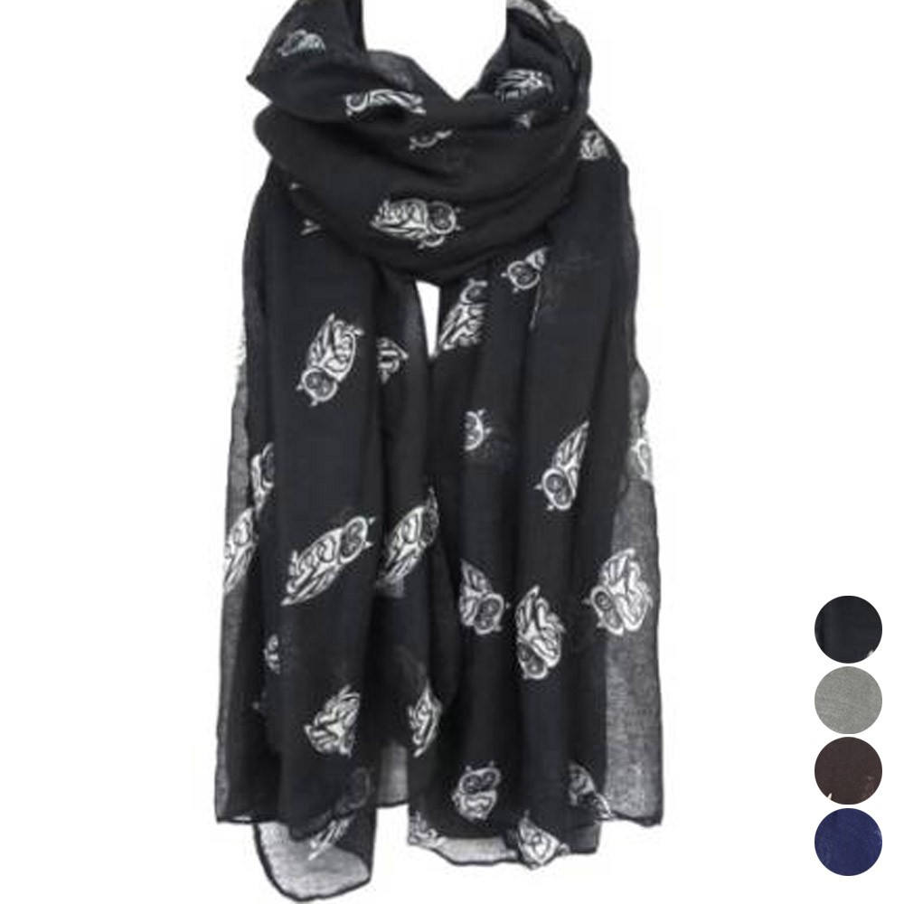 Lady Womens soft Long Cute Owl Print   Scarf     Wraps   Shawl Soft   Scarves   Comfortable   scarf   L50/1228