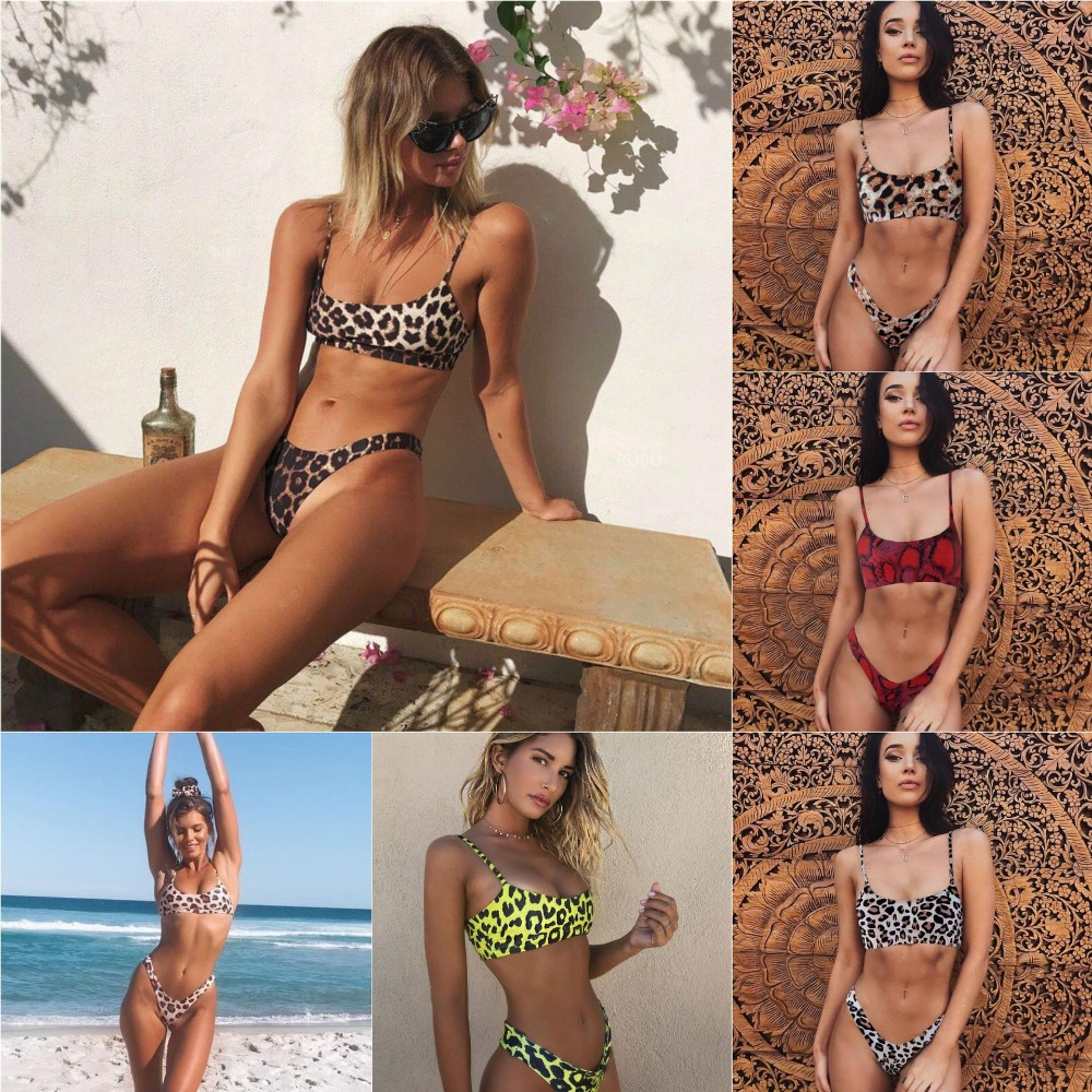 <font><b>2019</b></font> <font><b>Sexy</b></font> Leopard <font><b>Bikini</b></font> Set Micro <font><b>Bikinis</b></font> Push Up Thong Biquini High Cut <font><b>Swimwear</b></font> <font><b>Women</b></font> <font><b>Ruffle</b></font> <font><b>Swimsuit</b></font> Female Bathing Suit image