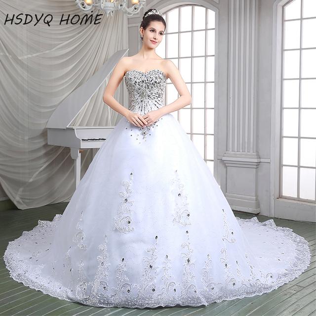 HSDYQ HOME luxurious crystal Lace wedding dresses 2016 sparkling diamond  bling with back up luxury wedding gowns hot sale 086f1cb463e9