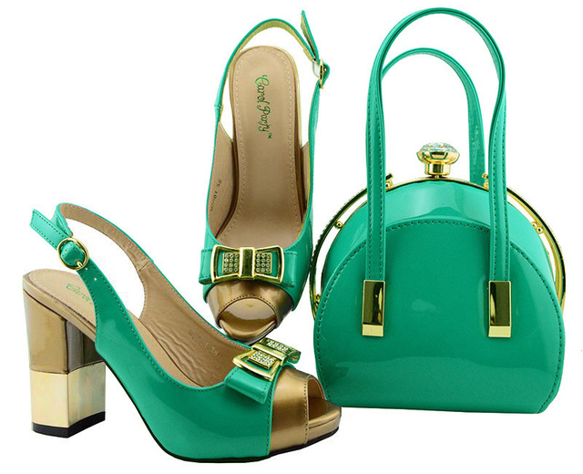 Fresh Mint Green Color African Women Italian Shoes and Bag Set Decorated with Metal African Shoe and Bag Sert for Party In Women