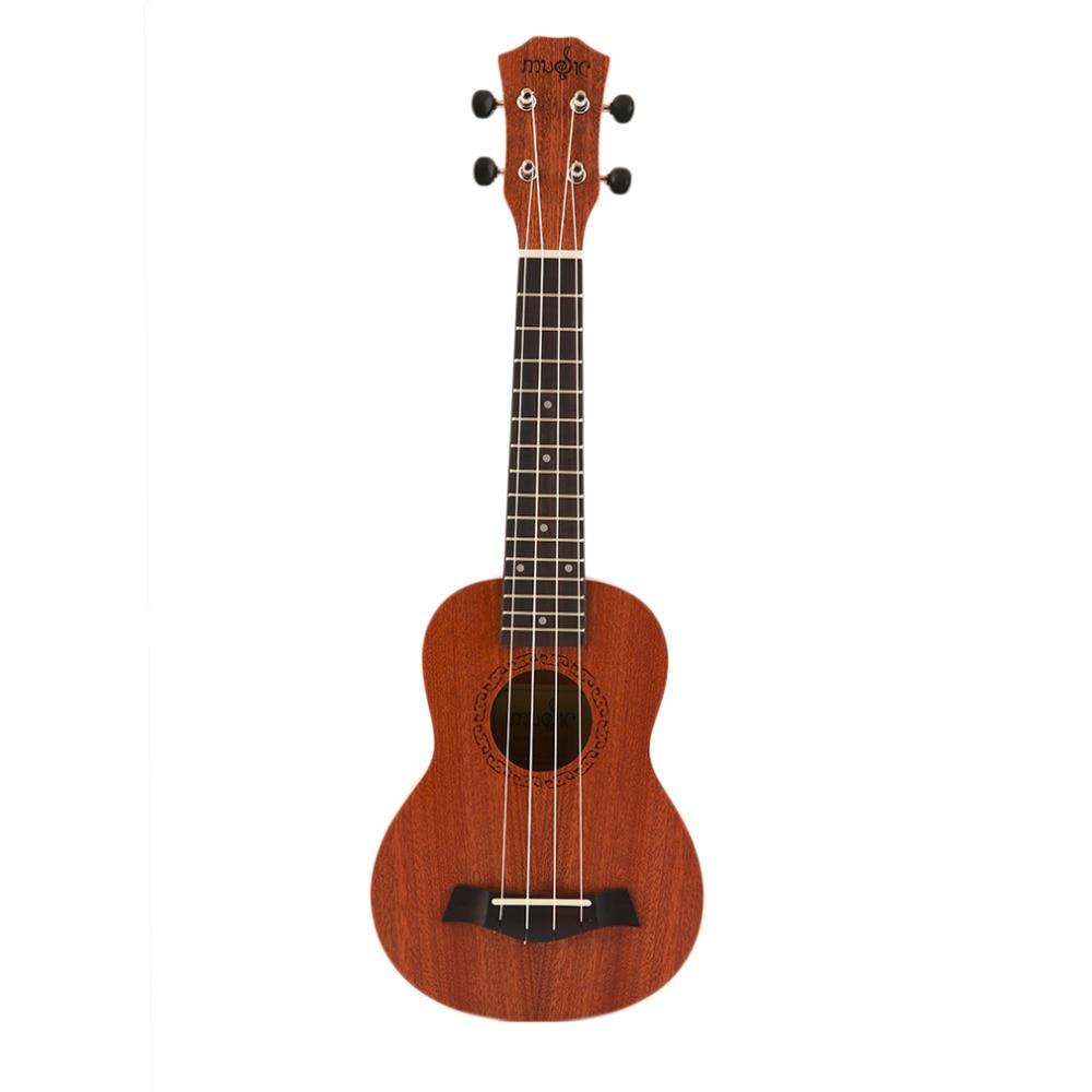 21 Inch Soprano Acoustic Ukulele Guitar 4Strings Ukelele Guitarra Handcraft Wood White Guitarist Mahogany Plug-in Overseas Stock french original savarez t50j high tension nylon classical guitar strings performance level flamenco guitar strings for guitarist