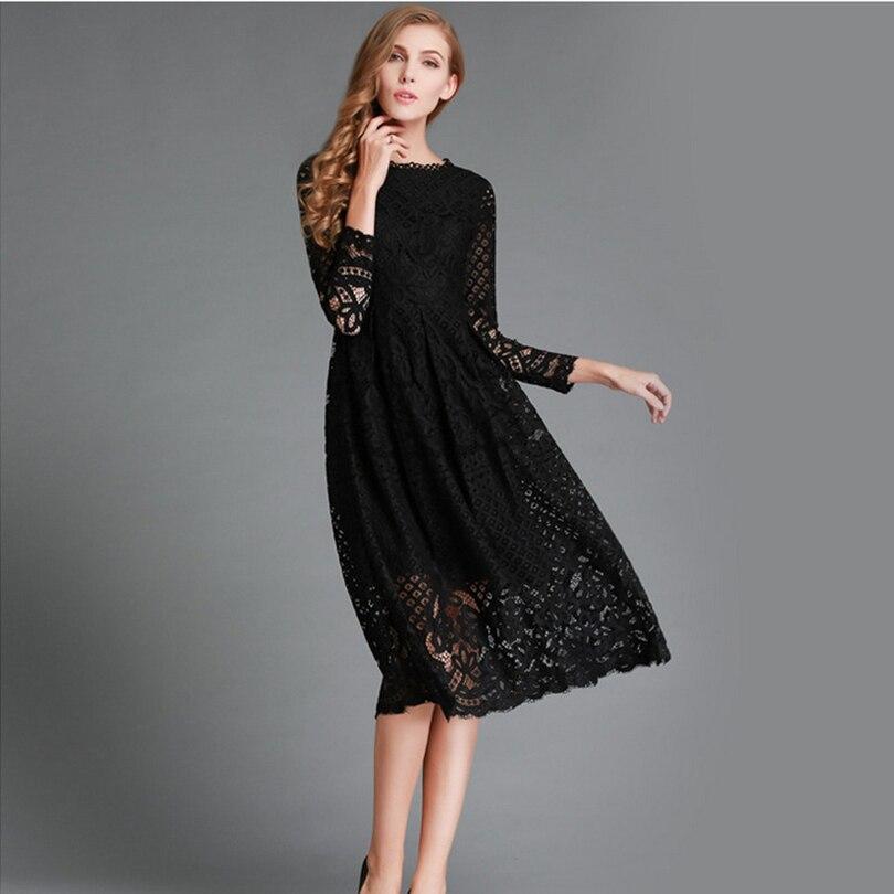 Women Large Beautiful Sale Hollow Out Autumn Dress Knee High Plus Size Vestido Elegant Evening Casual Party Dresses Fashion S291