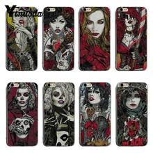 Yinuoda Unique hand-painted style girl dark face Luxury Hybrid phone case For iPhone XSMax X XS XR 7 7Plus 8 8plus 6 6s 6plus(China)