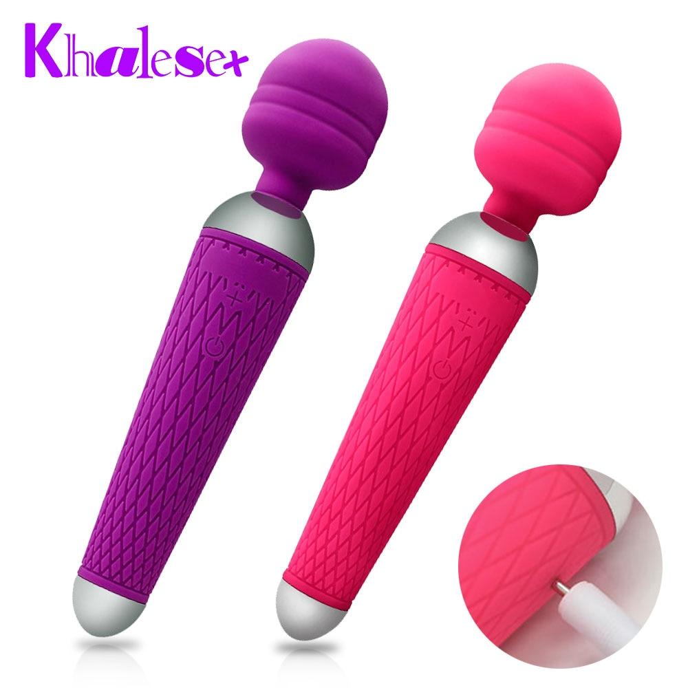 Khalesex Powerful oral clit Vibrators for Women USB Charge AV Magic Wand Vibrator Massager Adult Sex Toys for Woman Masturbator