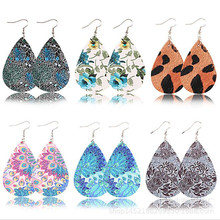 Printing Floral Leather Drop Earrings For Women Trendy Water Drop Pu Leather Earrings Fashion Statement Jewelry Gifts Wholesale все цены