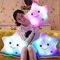 Baby Star Pillow Five Colors Cute Colorful LED light Smile Star Shape cushion Plush Pillows LED Bolster present