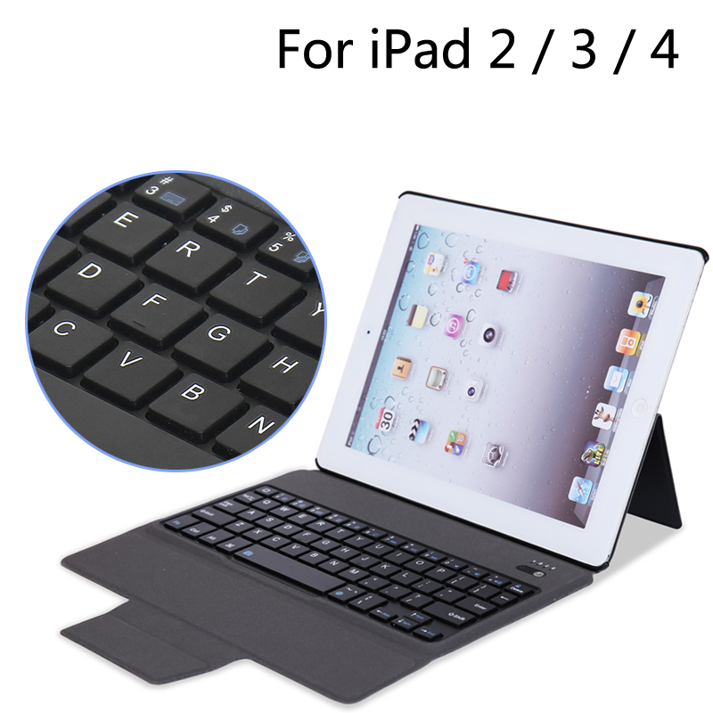 Case For iPad2 3 4 New Bluetooth Keyboard Portfolio Folio PU Leather Cover Case For iPad