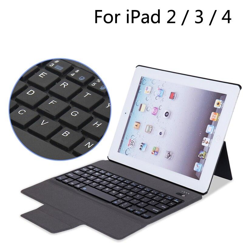 For iPad2/3/4 New Bluetooth Keyboard Portfolio Folio PU Leather Case Cover For iPad 2 / 3 / 4 + Gift