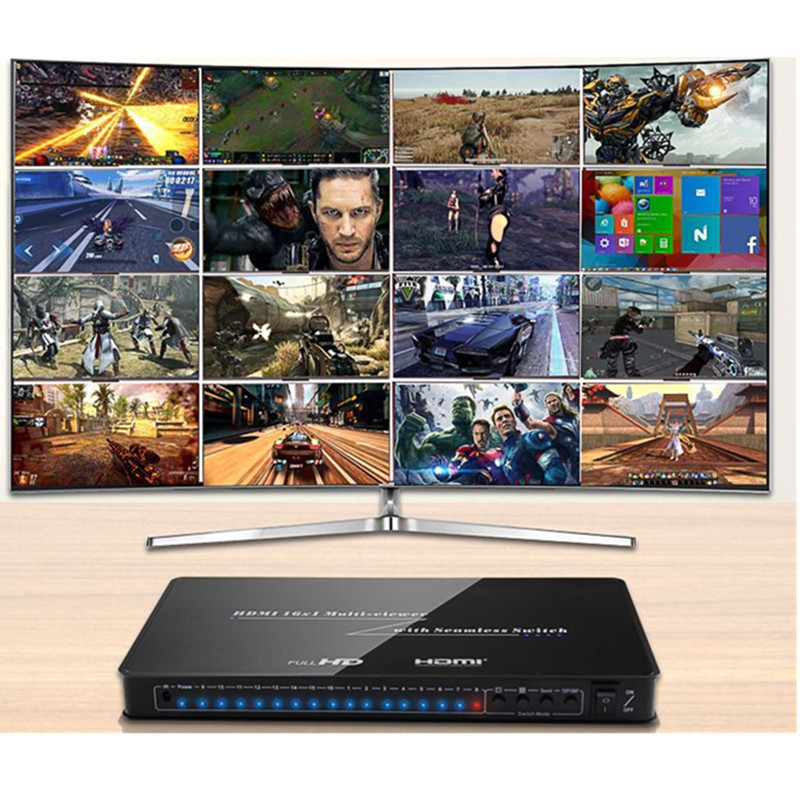 Image 5 - HDMI 16x1 Quad Multi Viewer With Seamless Switcher 16 by 1 IR Hdmi Switch Adapter,Female Connector HD1080P for HDTV,Video Wall-in Computer Cables & Connectors from Computer & Office