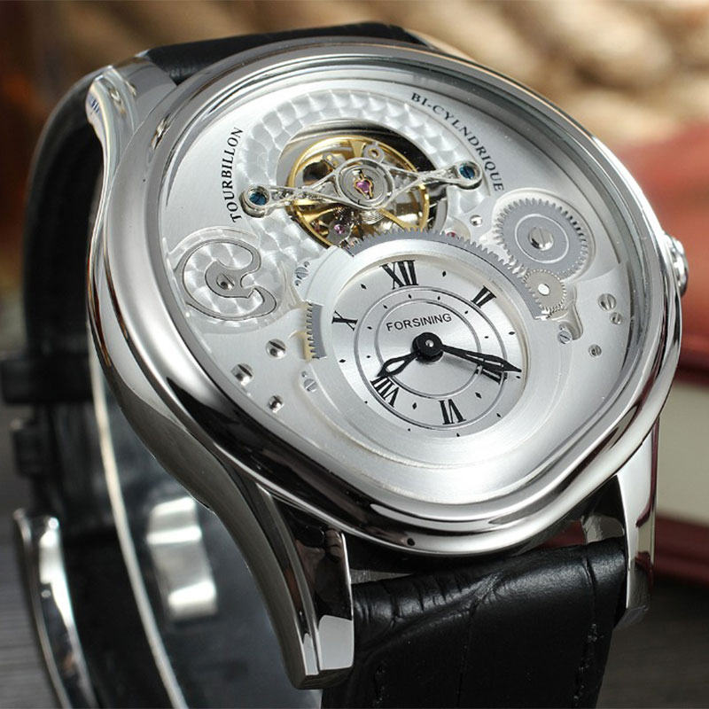 FORSINING Top Brand Fashion Wristwatches Men Automatic  Luxury Genuine Leather Strap Mechanical Men Casual Clock Relojes Hombres цена и фото