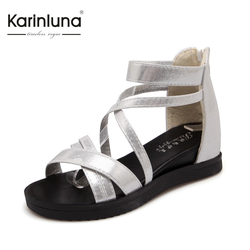 Brand New Open Toe Wedges Women Sandals Roman Style Platform Cross-Band Zipper Lady Shoes Gold/Silver