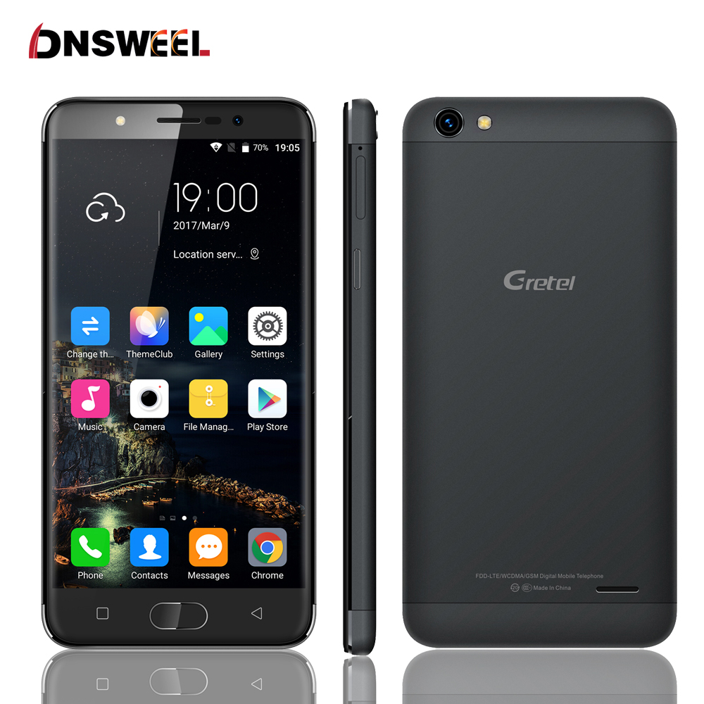 Original GRETEL A9 2GB RAM 16GB ROM 8MP 2300mAh MTK6737 1.25GHz Quad Core 5.0 Inch 2.5D HD Screen Android 6.0 4G LTE Smartphone