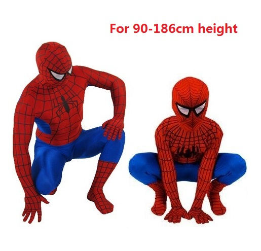 adult mens kids boys Fantasia the amazing blue spandex suit spiderman tights cosplay costume Christmas Carnival full bodysuit