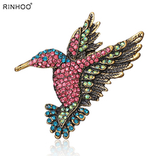 Lovely Hummingbird Brooch Pin Crystal Rhinestone Animal Bird Women Garment Scarf  Accessory Vintage Jewelry(China)