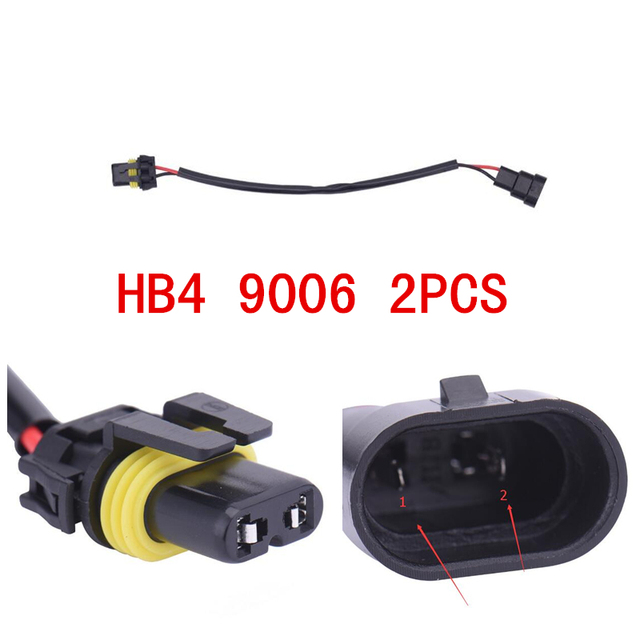 2PCS 9006 9006XS 9012 HB4 Wiring Harness Socket Wire Connector Plug Ballast HID Adapter Conversion Kit