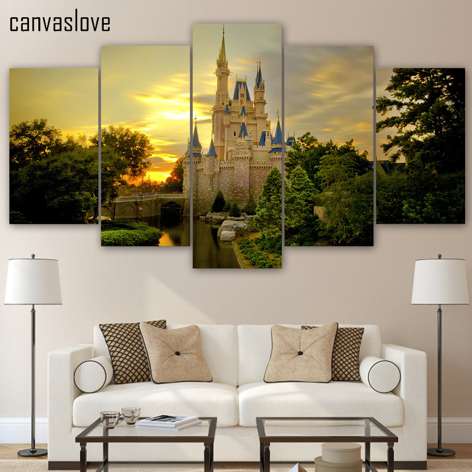 5 pieces printed cinderella castle paintings wall art for Modular living space