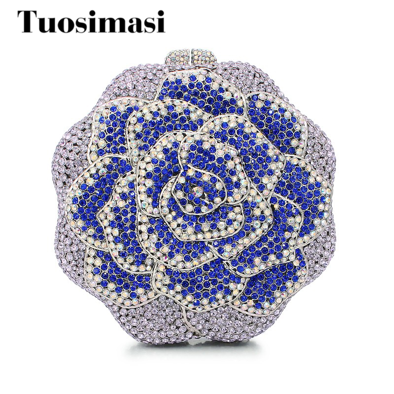 flower shape diamond crystal clutch evening bag ladies handbag evening bags cluth (8679A-SB) beautiful rose shape flower ladies bridal wedding party crystal clutch evening bag 8679a g