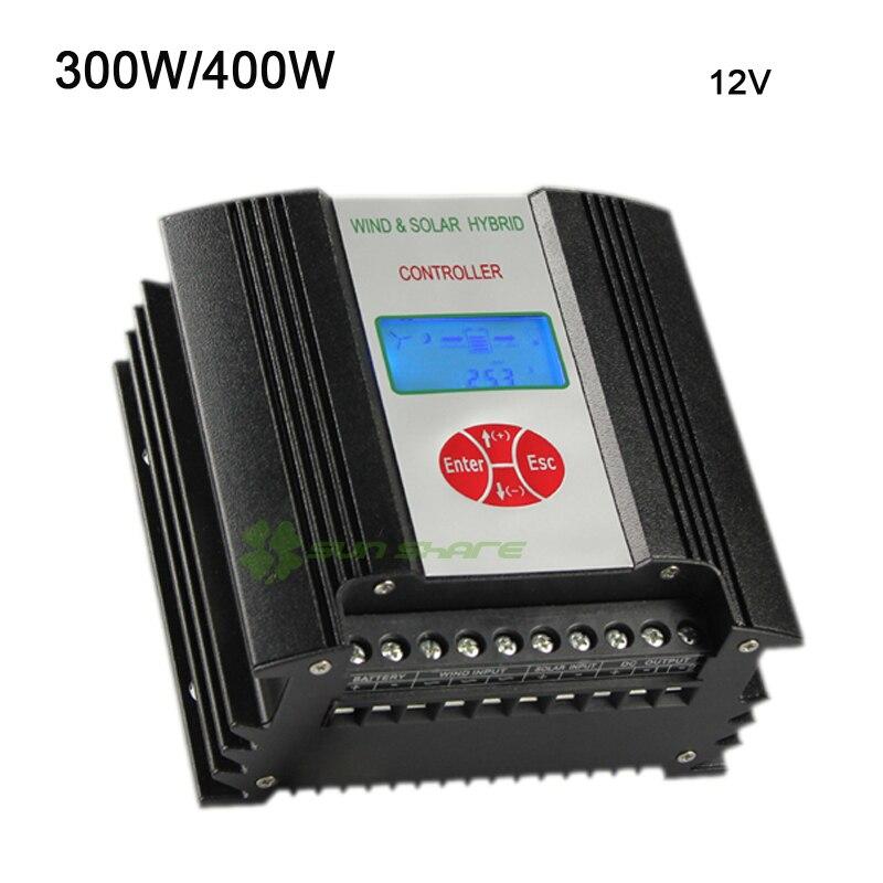 Бесплатная доставка Высокая эффективность 400 Вт 300 В Вт 12 в ветровой Солнечный контроллер с ЖК дисплеем текущего напряжения, подключение Вт 400 вт ветровой турбины