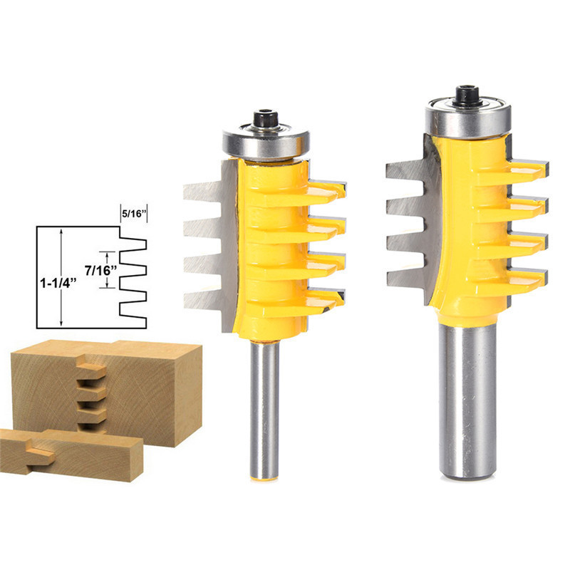 1/2, 1/4 Shank Rail Reversible Finger Joint Glue Router Bit Cone Tenon Woodwork Cutter Power Tools Wood Router Cutter 2 pcs 1 2t type shank 3teeth tenon cutter 4mm reversible glue bits of high quality dovetail router bits box joint router bit