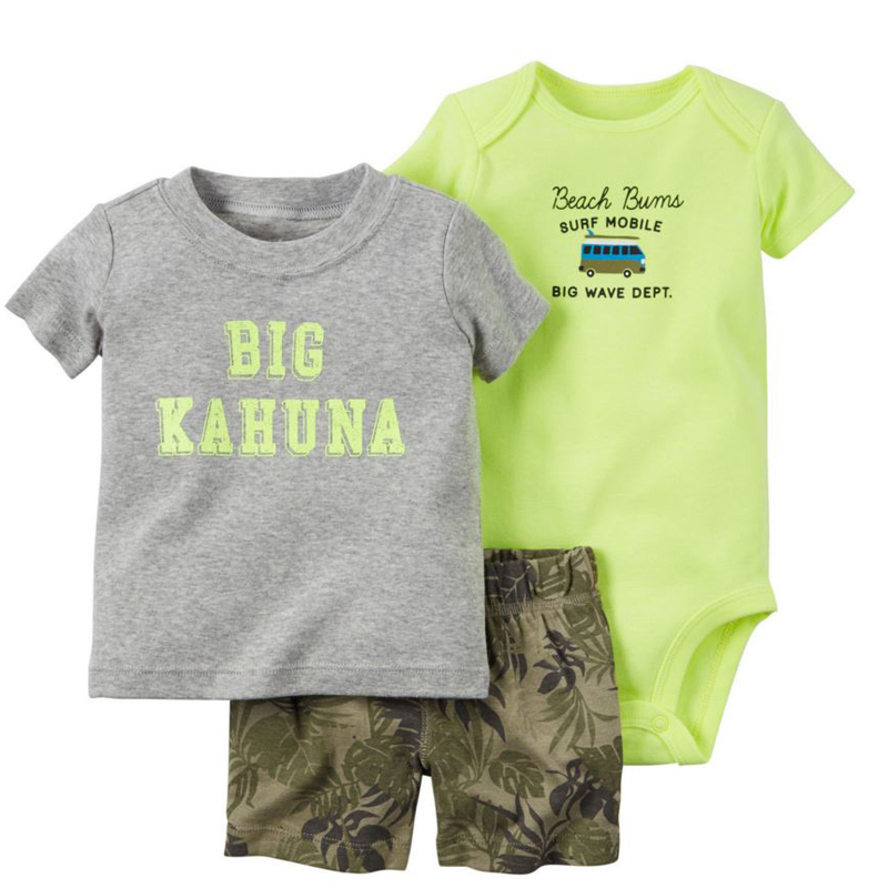 Summer Boy Clothes Newborn Baby Set Letter T-shirt Tops+bodysuit+shorts Costume Infant Clothing New Born Outfit Babies Suit 2020